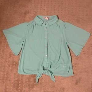 Blue Forever 21 Tie Front Button Down Blouse